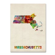"Trademark Fine Art 'Massachusetts Map' 18"" x 24"" Canvas Art"
