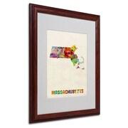 "Trademark Fine Art 'Massachusetts Map' 16"" x 20"" Wood Frame Art"