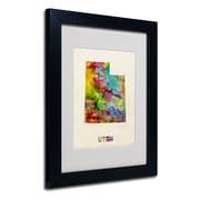 """Trademark Fine Art 'Utah Map' 11"""" x 14"""" Black Frame Art"""