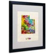 """Trademark Fine Art 'Utah Map' 16"""" x 20"""" Black Frame Art"""