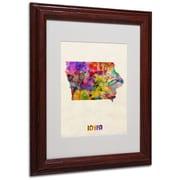 "Trademark Fine Art 'Iowa Map' 11"" x 14"" Wood Frame Art"