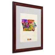 "Trademark Fine Art 'Iowa Map' 16"" x 20"" Wood Frame Art"