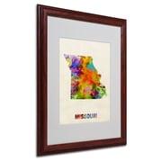 "Trademark Fine Art 'Missouri Map' 16"" x 20"" Wood Frame Art"
