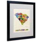 "Trademark Fine Art 'South Carolina Map' 16"" x 20"" Black Frame Art"