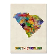 "Trademark Fine Art 'South Carolina Map' 14"" x 19"" Canvas Art"