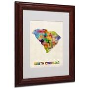 "Trademark Fine Art 'South Carolina Map' 11"" x 14"" Wood Frame Art"