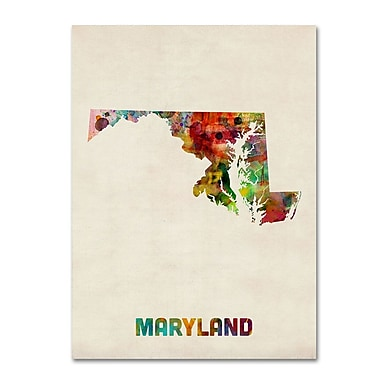Trademark Fine Art 'Maryland Map' 14