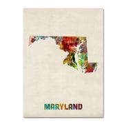 "Trademark Fine Art 'Maryland Map' 35"" x 47"" Canvas Art"