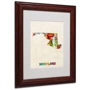 "Trademark Fine Art 'Maryland Map' 11"" x 14"" Wood Frame Art"