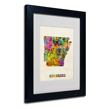 Trademark Fine Art 'Arkansas Map' 11in. x 14in. Black Frame Art