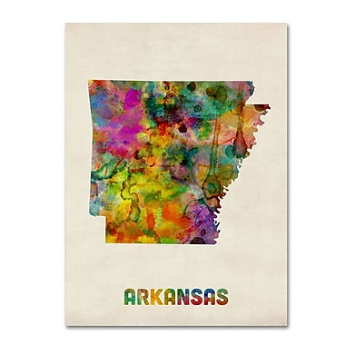 Trademark Fine Art 'Arkansas Map' 14in. x 19in. Canvas Art