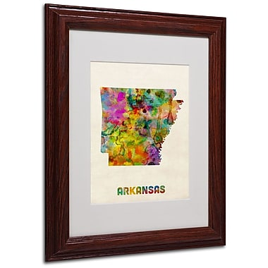 Trademark Fine Art 'Arkansas Map' 11in. x 14in. Wood Frame Art