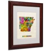 """Trademark Fine Art 'Arkansas Map' 11"""" x 14"""" Wood Frame Art"""