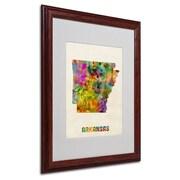 """Trademark Fine Art 'Arkansas Map' 16"""" x 20"""" Wood Frame Art"""