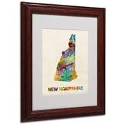 "Trademark Fine Art 'New Hampshire Map' 11"" x 14"" Wood Frame Art"