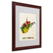 """Trademark Fine Art 'West Virginia Map' 16"""" x 20"""" Wood Frame Art"""