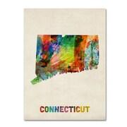 """Trademark Fine Art 'Connecticut Map' 35"""" x 47"""" Canvas Art"""