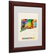 """Trademark Fine Art 'Connecticut Map' 11"""" x 14"""" Wood Frame Art"""
