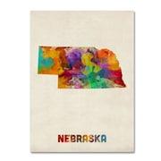 "Trademark Fine Art 'Nebraska Map' 18"" x 24"" Canvas Art"