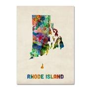 """Trademark Fine Art 'Rhode Island Map' 24"""" x 32"""" Canvas Art"""