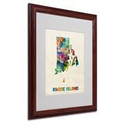 """Trademark Fine Art 'Rhode Island Map' 16"""" x 20"""" Wood Frame Art"""