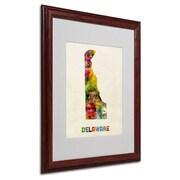 """Trademark Fine Art 'Delaware Map' 16"""" x 20"""" Wood Frame Art"""