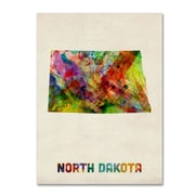 "Trademark Fine Art 'North Dakota Map' 14"" x 19"" Canvas Art"