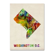 "Trademark Fine Art 'Washington D.C. Map' 14"" x 19"" Canvas Art"