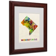 "Trademark Fine Art 'Washington D.C. Map' 11"" x 14"" Wood Frame Art"