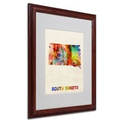 "Trademark Fine Art 'South Dakota Map' 16"" x 20"" Wood Frame Art"