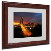 "Trademark Fine Art 'Bay Bridge' 11"" x 14"" Wood Frame Art"