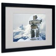 """Trademark Fine Art 'Whistler Inukshuk' 16"""" x 20"""" Black Frame Art"""