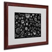 "Trademark Fine Art 'Black & White Buttons' 16"" x 20"" Wood Frame Art"