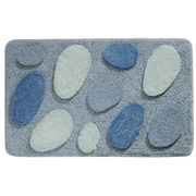 "InterDesign® 34""x 21"" Pebblez Polyster Bath Rug, Blue"