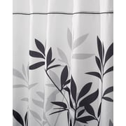 "InterDesign® 72"" x 84"" Leaves Polyester Long Shower Curtain, Black/Gray"