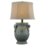 AHS Lighting St. Tropez Ceramic Table Lamp With Beige Fabric Shade, Blue