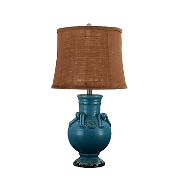 AHS Lighting Montevideo Table Lamp With Burlap Shade, Turquoise