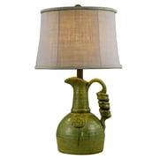 AHS Lighting Waterloo Ceramic Table Lamp With Gray Burlap Shade, Lime