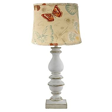 AHS Lighting Bishop Table Lamp With Butterfly Shade, White