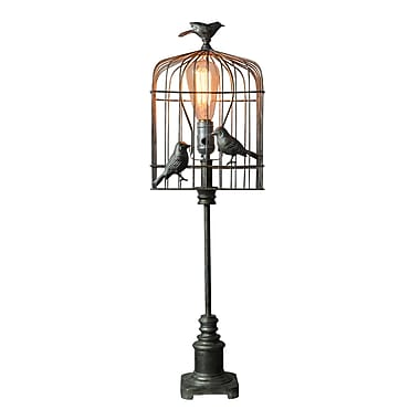 AHS Lighting Aviary Bird Table Lamp With Metal Cage Style Shade, Black