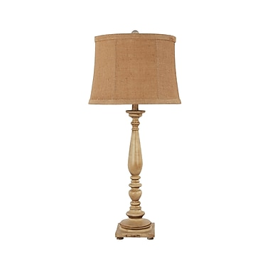 AHS Lighting Liberty Table Lamp With Burlap Shade, Antique White