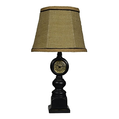AHS Lighting Tick Tock Clock and Accent Lamp With Brown Burlap Shade, Black