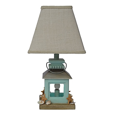 AHS Lighting Coastal Lantern Table Lamp With Off-White Square Fabric Shade