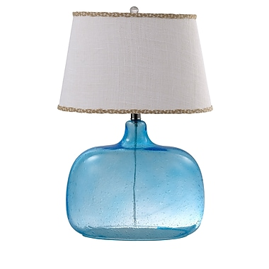 AHS Lighting Spa Glass Table Lamp With White Fabric Shade, Ocean Blue