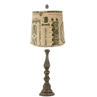 AHS Lighting Como Table Lamp With Aqua and Gray Shade, Pewter