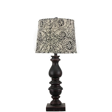 AHS Lighting Bishop Table Lamp With Wrought Iron Shade, Brown/Black