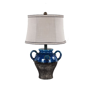 AHS Lighting Lyon Ceramic Table Lamp With Gray Slub Linen Shade, Blue