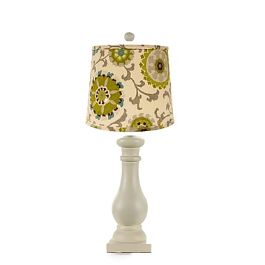 AHS Lighting Lehigh Table Lamp With Pea Green and Teal Shade, Eggshell White