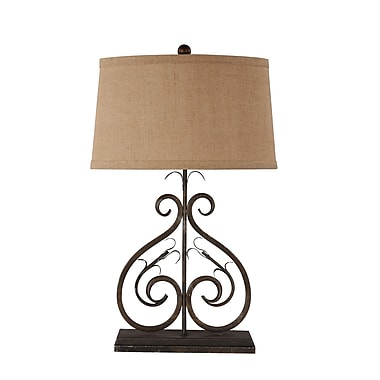 AHS Lighting Deux Scrolls Table Lamp With Burlap Oval Shade