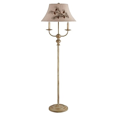 AHS Lighting Bayfield Floor Lamp With Dual Side Arms and Pinecone Embroidered Shade, Pale Blonde